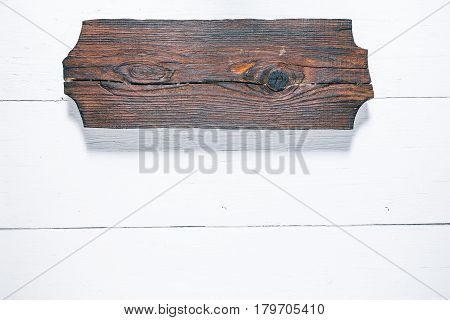 Background of wood planks painted in white. Wood signboard as title bar