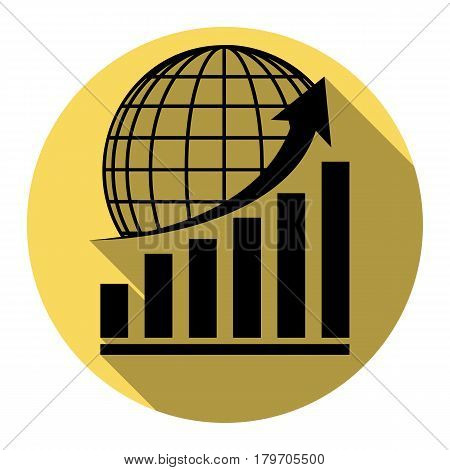 Growing graph with earth. Vector. Flat black icon with flat shadow on royal yellow circle with white background. Isolated.
