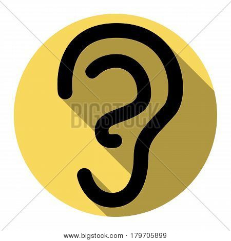 Human ear sign. Vector. Flat black icon with flat shadow on royal yellow circle with white background. Isolated.
