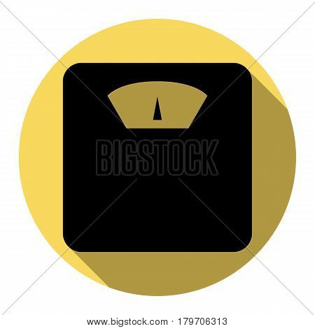 Bathroom scale sign. Vector. Flat black icon with flat shadow on royal yellow circle with white background. Isolated.