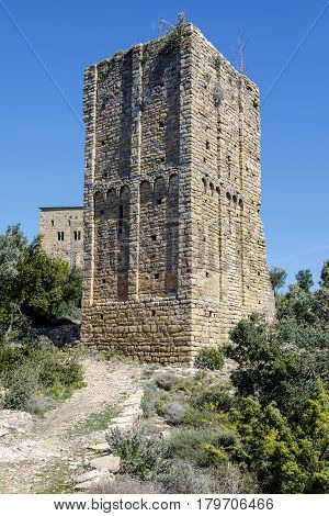 Castle of Llorda located in the municipality of Isona and Conca Della in the Catalan region of Pallars Jussa. Catalonia Spain.