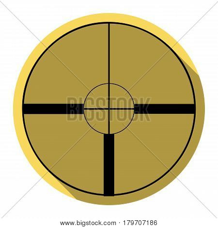 Sight sign illustration. Vector. Flat black icon with flat shadow on royal yellow circle with white background. Isolated.