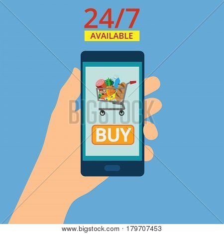 Hand holding smartphone with basket on the screen. Purchases are available 24 hours. Order food online. Flat vector illustration.