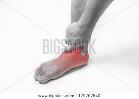 ankle injury in humans .ankle pain,joint pains people medical, mono tone highlight at ankle