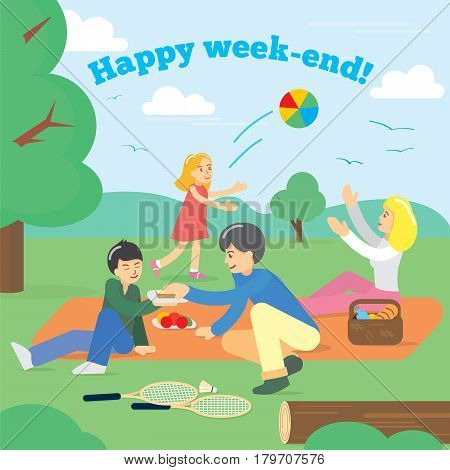 Happy Family on Weekend. Family picnic. Party Picnic, Food, summer. Vector illustration