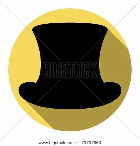 Top hat sign. Vector. Flat black icon with flat shadow on royal yellow circle with white background. Isolated.