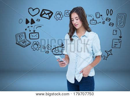 Digital composite of Woman with phone and social media graphics drawings