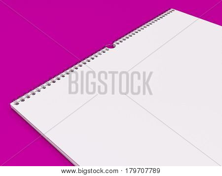 3D Illustration of Wall Calendar Template on color background