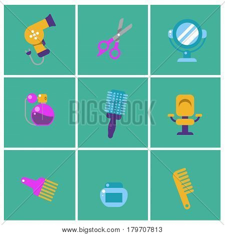 Trendy flat Hairdresser icons. Set of Stylist icons. Barber elements for info graphic. a Hairdryer, scissors, comb, brush, gel, perfume, comb, mirror, hairdressing mirror Vector illustration