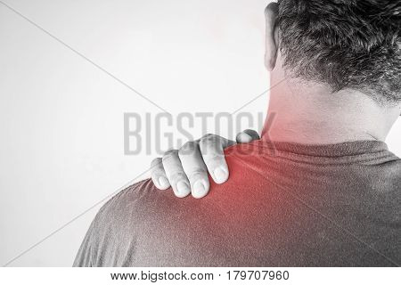 nape injury in humans .nape pain,joint pains people medical, mono tone highlight at nape