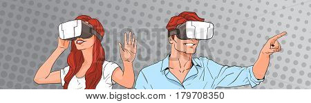 Woman And Man Wear Virtual Reality Digital Glasses Pop Art Colorful Retro Style Vector Illustration