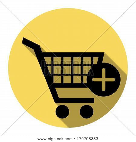 Shopping Cart with add Mark sign. Vector. Flat black icon with flat shadow on royal yellow circle with white background. Isolated.