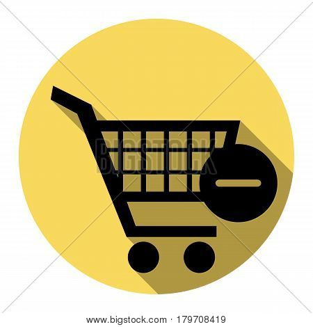 Vector Shopping Cart with Remove sign. Vector. Flat black icon with flat shadow on royal yellow circle with white background. Isolated.