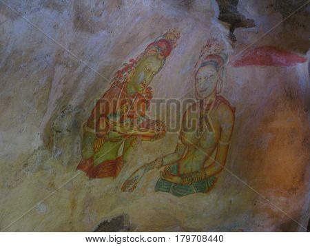 Ancient Buddhist murals, Lion mountain Sigiriya, Ceylon, Sri Lanka