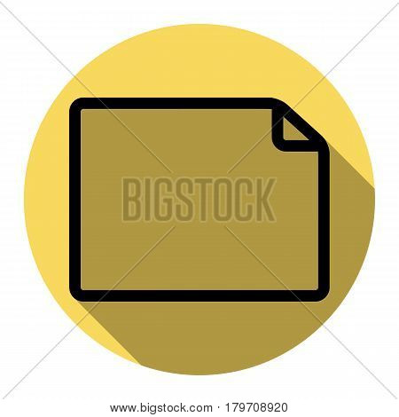 Horisontal document sign illustration. Vector. Flat black icon with flat shadow on royal yellow circle with white background. Isolated.