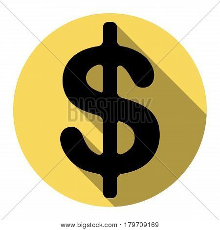 Dollars sign illustration. USD currency symbol. Money label. Vector. Flat black icon with flat shadow on royal yellow circle with white background. Isolated. poster
