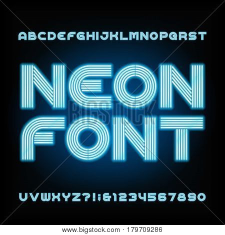 Blue neon tube alphabet font. Type letters and numbers on a dark background. Vector typeset for your design.