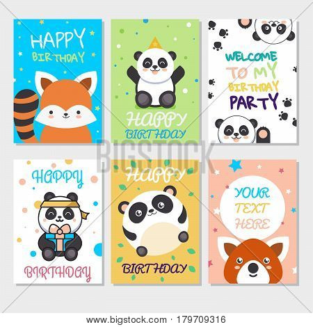 Set of cute animals poster. Cute Happy birthday greeting card for child fun cartoon style There are birthday gifts funny animals. Vector Illustration