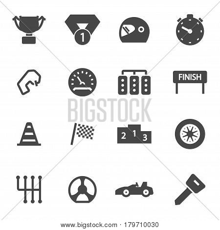 Vector black racing icons set on white background