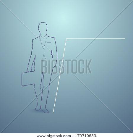 Business Man Silhouette Financial Graph Background Businessman Boss Vector Illustration