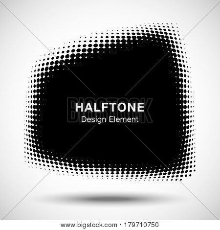 Convex black abstract vector distorted trapezium frame halftone dots logo emblem design element for new technology pattern background.