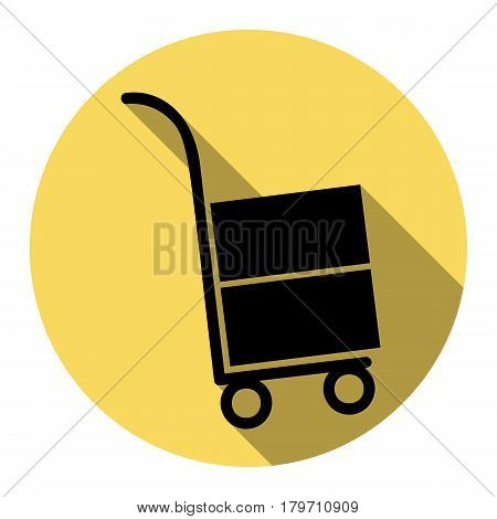 Hand truck sign. Vector. Flat black icon with flat shadow on royal yellow circle with white background. Isolated.