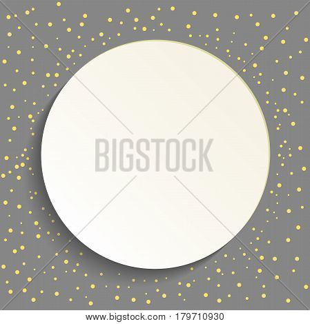 Nice vector frame with golden dots and volume circle. Fine greeting card. Pattern with dots