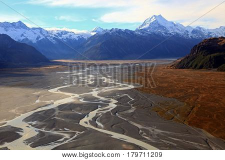 aerial view of Tasman glacier anf Mountain Cook Range in New Zealand