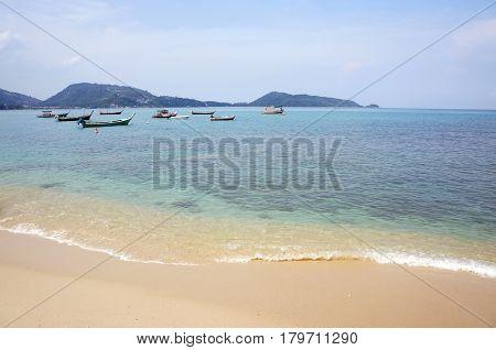 Long Tail boat at tropical beach