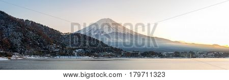 Mountain Fuji view from the Kawaguchiko lake Kawaguchi sunset panorama