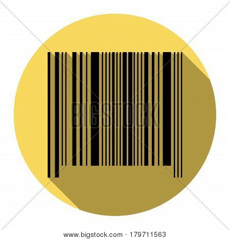 Bar code sign. Vector. Flat black icon with flat shadow on royal yellow circle with white background. Isolated.