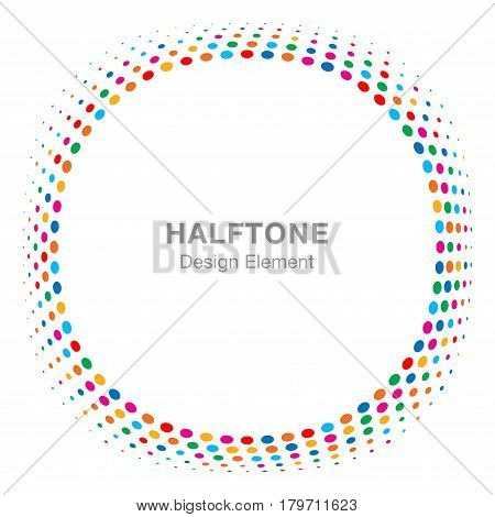 Convex distorted black abstract vector circle frame halftone dots logo emblem design element for new technology pattern background. Round border Icon using halftone circle dots raster texture.
