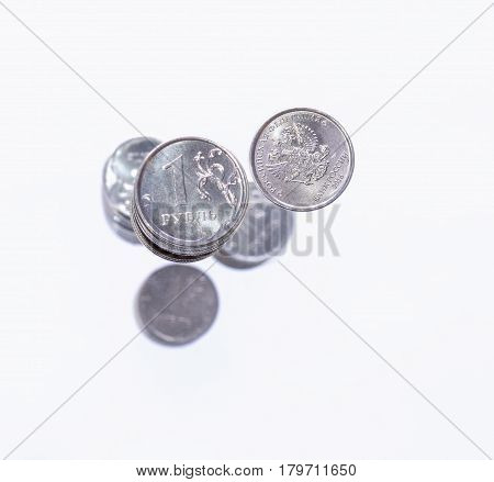 A Handful Of One Russian Rouble  Coins On White