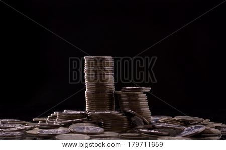 Pile of Russian coins on black background