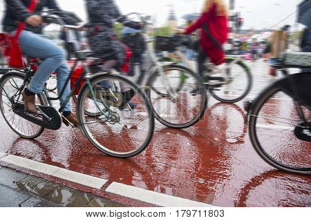 Bicycles on the streets of the city. Bike traffic on bicycle paths in a densely populated city.