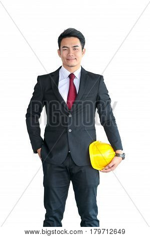Businessman Or Engineer Hold In Hand Yellow Helmet For Workers Security Isolated On White