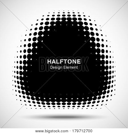 Convex black abstract vector distorted triangle square frame halftone dots logo emblem design element for new technology pattern background.