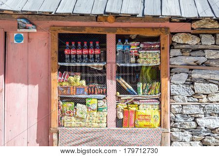 Small Retail Shop in the remote Village of Nepal Himalaya Mountains on popular among Tourists hiking route to Mera Peak. Nepal, Solo Khumbu area, November 8, 2016