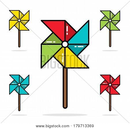 Set of five colorful toy pinwheels line flat vector design