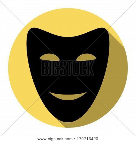 Comedy theatrical masks. Vector. Flat black icon with flat shadow on royal yellow circle with white background. Isolated.