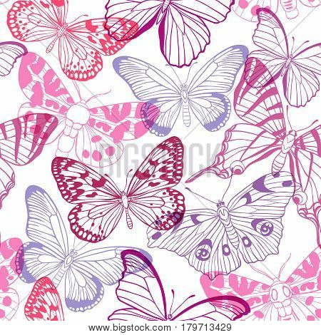 Abstract seamless pattern with pink and violet butterflies on a white background