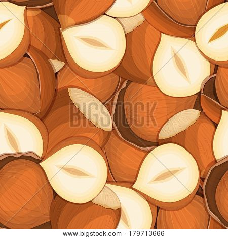 Vector seamless pattern hazelnut nut. Vector card illustration. Closely spaced peeled walnut nuts and in shell. it can be used as packaging design element printing brochures on healthy and vegetarian diet