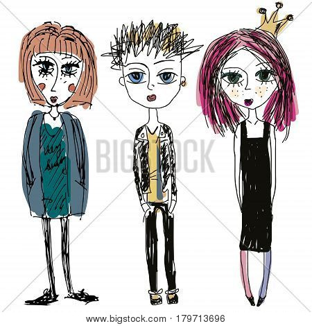 Teenagers group. Fashion young skinny girls and boy. Rock band modern punks young adults. sketch hand drawn style doodle illustration