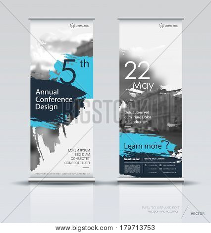 Design of a roll up vertical banner with a watercolor brush effect. It can be used for street banners, posters, signs, flags, brochures and leaflets. vector illustration.