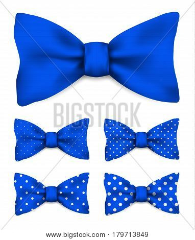 Cobalt blue bow tie with white dots realistic vector illustration set isolated on white background