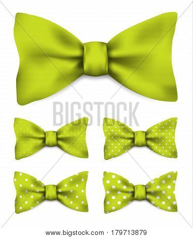 Lime green bow tie with white dots realistic vector illustration set isolated on white background
