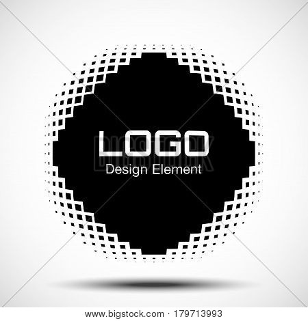 Convex black abstract vector distorted rhombus square frame with halftone square dots logo emblem design element for new technology pattern background.