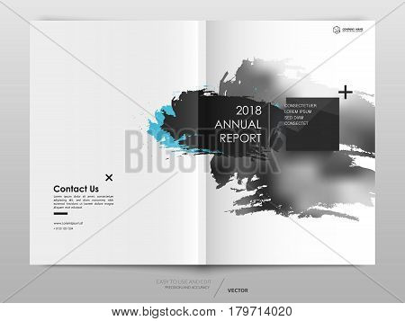Cover design annual report,vector template brochures, flyers, presentations, leaflet, magazine a4 size. Abstract background with a watercolor brush effect. - stock vector