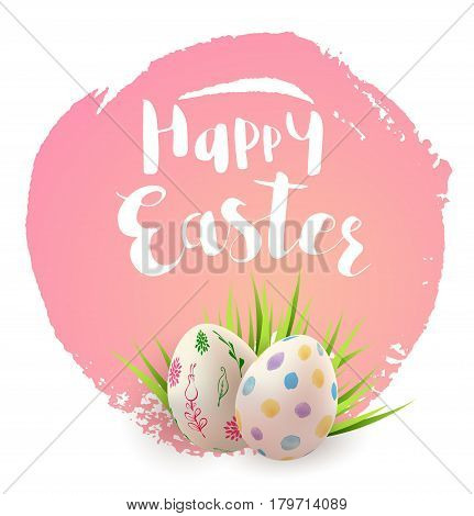 Easter card with eggs and green grass on a pink background