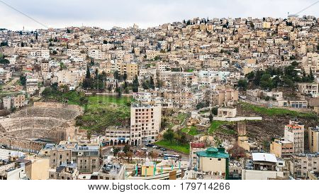 Skyline Of Amman City With Ancient Roman Theater